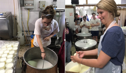 Paige Kirby carefully ladles the ricotta into the cups. (Left) Emma Kokaska shapes a mozzarella ball (Right)