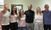 From left, 2019-20 Tri Beta officers: Jenna Vance (Treasurer), Hannah West (Vice President), Gillian Null, (President), Colton Ross (Social Chair), Rhianna Hunt (Community Service Chair), Dr. Soichi Tanda (Faculty Adviser)
