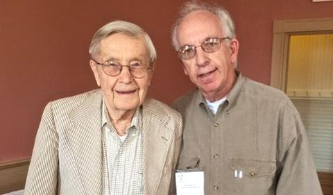 Vernon Alden, OHIO's 15th president, with Alan Rom