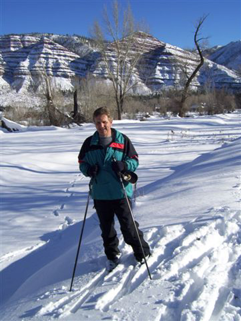 "Eric Bikis ""Living the Dream"" in Durango, CO., shown here on snow skis."
