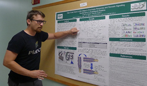 Colin Kruse poster presentation at the Fall 2019 PBIO Graduate Symposium