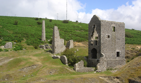 a snapshot of the ruins of an old stone boiler house