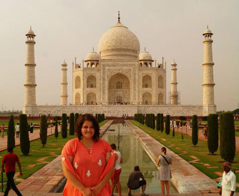 Grace Eberly Visiting the Taj Mahal in Agra, India during a study abroad experience (2015).