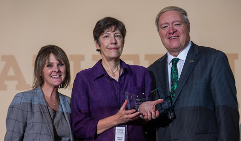 From left, Carly Leatherwood, Katherine Jellison and M. Duane Nellis at the 2019 Newsmakers gala