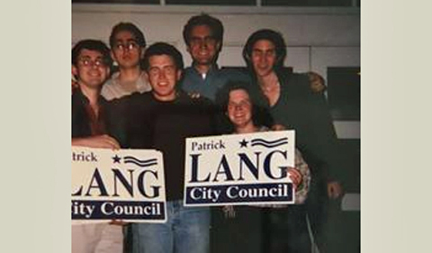 Patrick Lang campaigning for Athens City Council