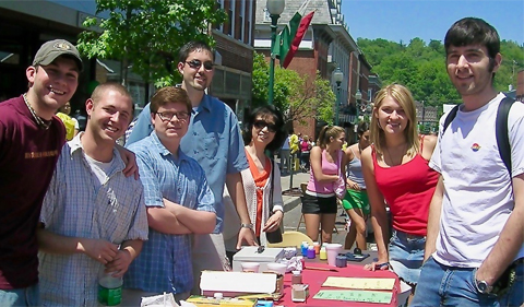 Dr. Tao with Chinese language students at the International Street Fair, 2005. Tao has been organizing the Chinese Language Booth at the Street Fair every year since she came to OHIO.