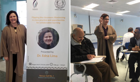 Left, Lima stands next to the poster for her workshop. Right, Lima works with two of the professors in her workshop.