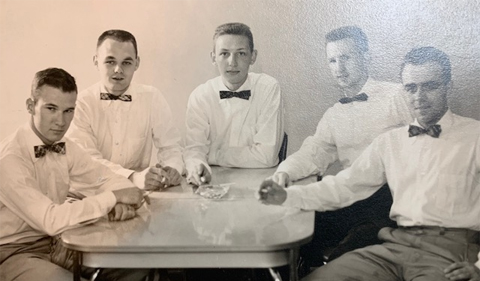 Lucas (far left) with his pre-medical friends who lived at work at OHIO's Health Centre in 1955.