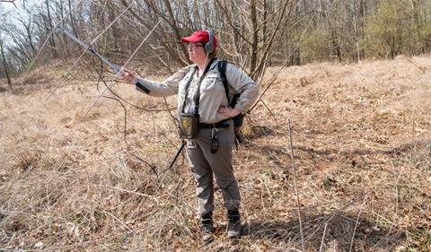 Marcel Weigand tracking Box Turtles via VHF telemetry (photo: Ben Siegel)