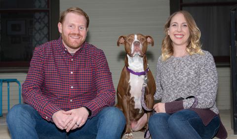 Rob Dorans and Lauren Elliott-Dorans with their dog