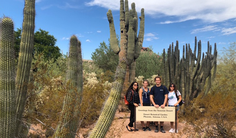 a group of four students surrounded by cacti in front of a sign indicating the Sonoran Desert