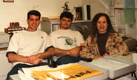 Tracy Watson and Corey Boby in 1996, sitting on couch