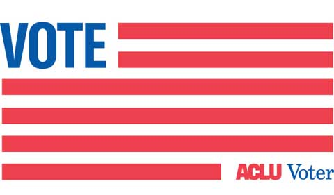 ACLU Voter graphic using USA flag motif