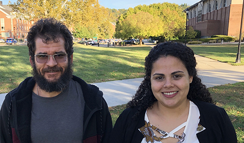 Edson Vernek and Daiara Faria share a research focus on nanoscience, leading to exciting collaborations with colleagues at Ohio University.