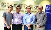 L to R: Drs. Dawei Zhai (Ph.D. '18), Sergio Ulloa, Eric Stinaff, and Alexander Govorov
