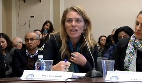 Haley Duschinski testifies at a Congressional hearing on Kashmir.