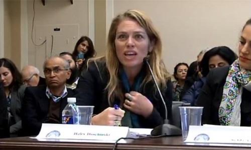 Haley Duschinski testifies at a Congressional hearing on Kashmir.