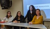 From left, Dr. Tania de Miguel Magro, Dr. Melissa Figueroa, Dr. Glenda Y. Nieto-Cuebas and Dr. Erin Cowling pose at Figueroa's panel on Early Modern Spanish literature.