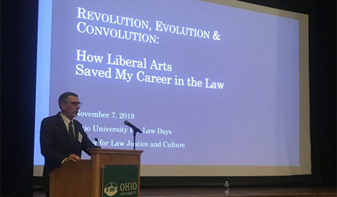 Pierce Reed gives keynote on Revolution, Evolution & Convolution: How Liberal Arts Saved My Career in the Law