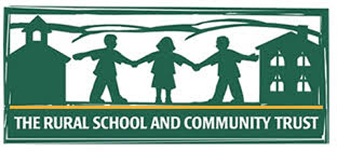 rural school and community trust logo, showing children holding hands