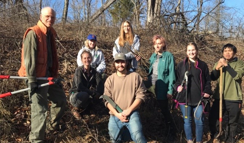 Dr. Phil Cantino (left) pictured with Delaney Gibbs (second from left) and group of volunteers at Strouds Run State Park for the Prairie-like Opening Stewardship Day on Dec. 7.