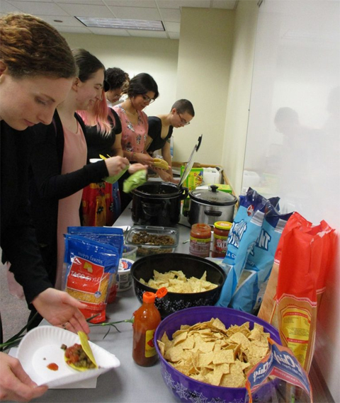 The build-your-own taco bar at the Sigma Delta Pi initiation was a hit.