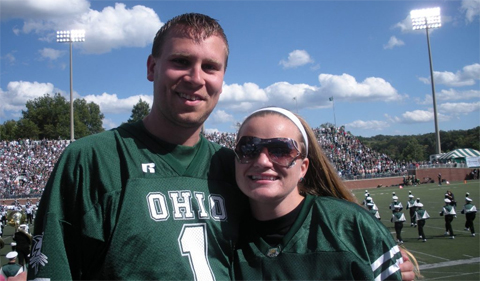 Denbow and his wife, Kelly, enjoying OHIO marching 110 at the football game.