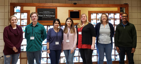 From left, Sarah Roell, Eli Skelton, Shabnam Pordel, Sima Saeedi, Rachael Pickens, Dr. Jessica White, and Dr. Travis White