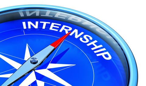 Graphic with compass pointing to Internship