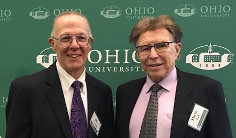 James Stratman and David Bell, Chair of Linguistics, at the College of Arts and Sciences Notable Alumni Ceremony