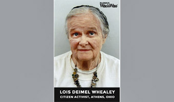 Lois Deimel Whealey, portrait, noting her as a citizen activist in Athens, Ohio.