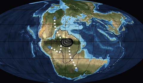 an image of the world with arrows indicating dispersal pathways