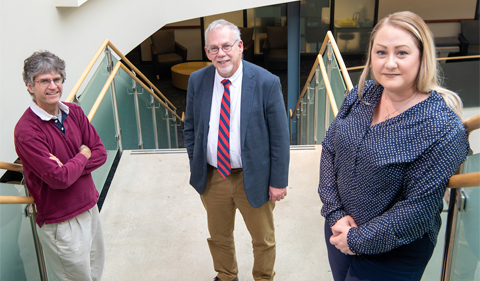 Ohio University professors (Left to Right) Douglas Goetz, Stephen C. Bergmeier and Kelly McCall led team discovery of a new compound with therapeutic potential.