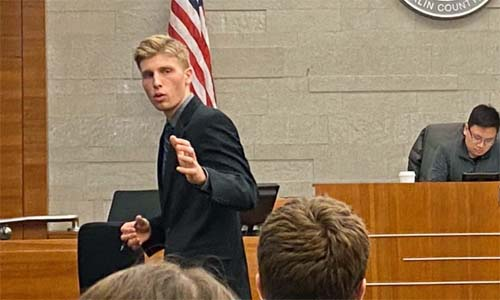 Nick Bohuslawsky delivers the Prosecuting Closing Argument to the jury