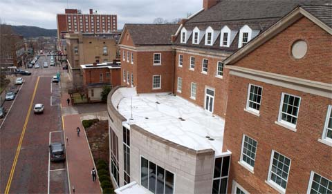 The roof over the entrance to Schoonover Center will become a green roof in Spring 2020.