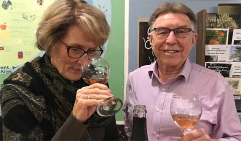 Theresa Moran and David Bell at the Village Bakery monthly wine tasting event