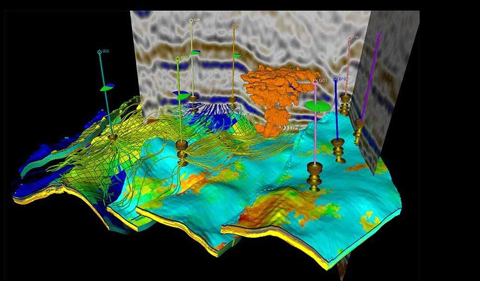 The image is from Petrel core system, a fully integrated platform where Geology, Geophysics, Reservoir Engineering and Production disciplines work together; Courtesy: Schlumberger Petrel.