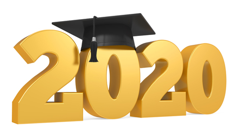 2020 Graduation Cap isolated on white background. 3D render