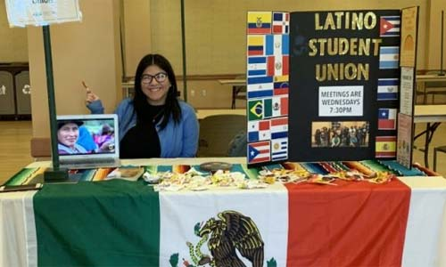 Esther Aulis-Cabrera representing the Latino Student Union.