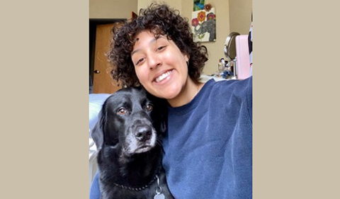Dililah Gonzalez and her dog