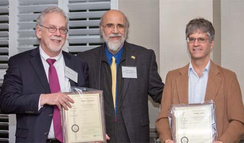 From left, Dr. Stephen Bergmeier, Provost Chaden Djalali, and Dr. Doug Goetz