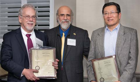 From left, Dr. Stephen Bergmeier, Provost Chaden Djalali and Dr. Xiaozhuo Chen