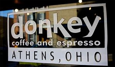 Sign for Donkey Coffee and Espresso, Athens, Ohio