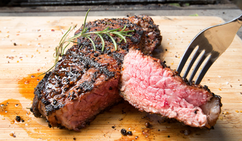 Freshly cooked New York Strip.