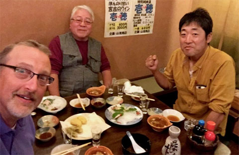 Chris Thompson with NGO Tsunami Tarō Chairman Daibō and Vice Chairman Tamazawa at the meeting where collaborative help from OHIO was requested on their seawall mural in September 2019.