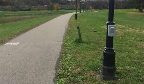 User counter (gray box in the foreground) on the Ohio University Campus.