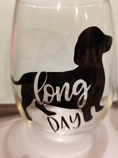 Long day glass with dachsund
