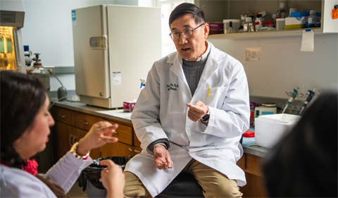 Dr. Shiyong Wu meets with students in 2019.