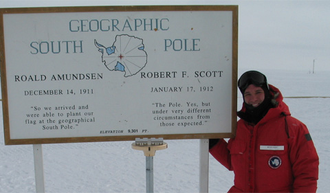 Dr. Ryan Fogt at the Geographic South Pole