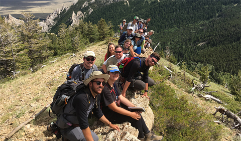 Ohio University geological sciences students pose for a photo during a field geology course in the summer of 2019.